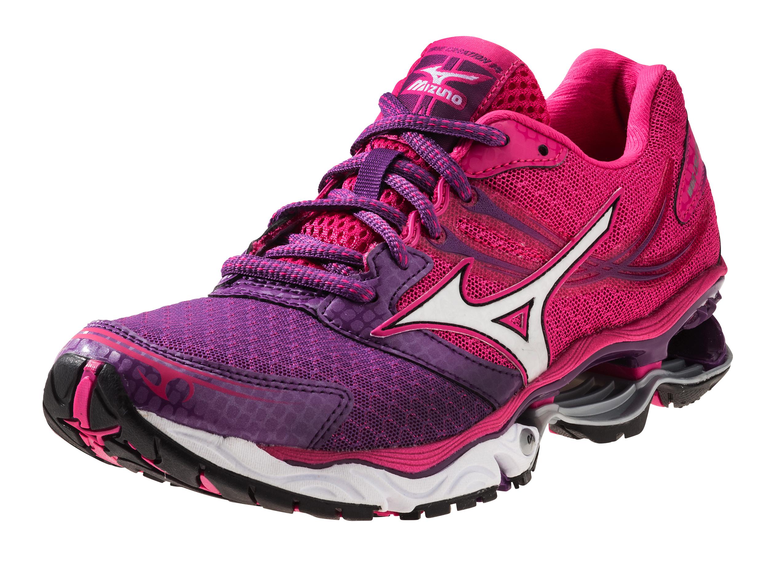 mizuno s wave creation 14 running shoes pink black