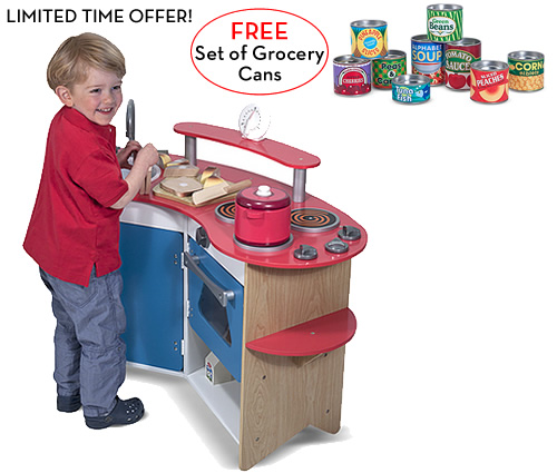 Melissa and Doug Cook's Corner Kitchen with FREE Let's Play House! Grocery Cans