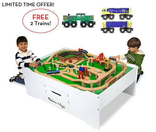 Melissa and Doug Train Table with 2 FREE Trains