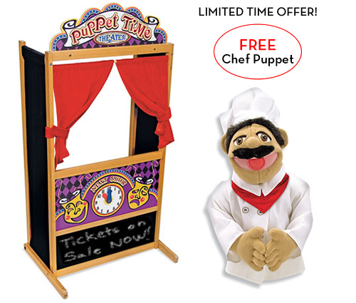 Melissa and Doug Deluxe Puppet Theater with FREE Chef Puppet