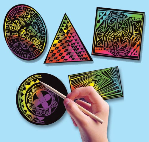 Melissa and Doug Scratch Art Geometric Scratchin' Shapes; Group Pack