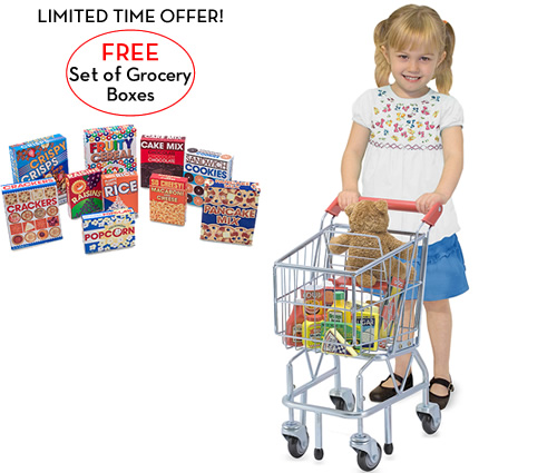 Melissa and Doug Shopping Cart with FREE Let's Play House! Grocery Boxes
